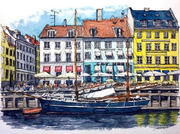 Акварельные путешествия: художник рисует города, в которых мечтает побывать. Акварельные путешествия 5