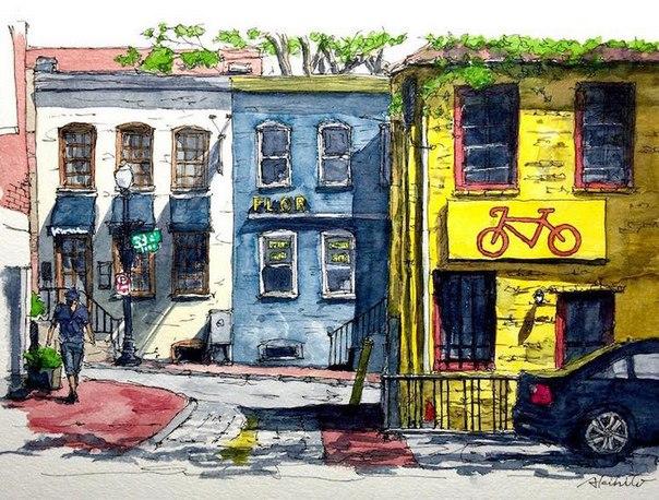 Акварельные путешествия: художник рисует города, в которых мечтает побывать. Акварельные путешествия 6