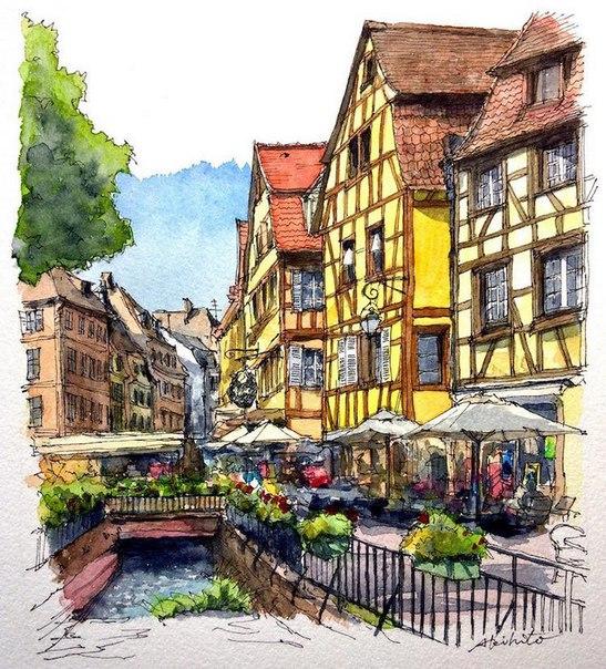 Акварельные путешествия: художник рисует города, в которых мечтает побывать. Акварельные путешествия 7